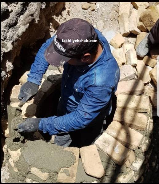 آجر چینی چاه ، طوقه چاه ، طوقه چینی چاه ، بستن درب چاه